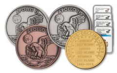 Apollo 11 Robbins Medal 4-Piece Set NGC PF70/MS70 - 50th Anniversary Commemorative