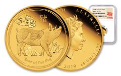 2019 Australia $15 1/10-oz Gold Lunar Year of the Pig NGC PF70UC