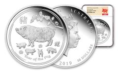 2019 Australia $30 One-Kilo Silver Lunar Year of the Pig NGC PF70UC