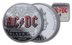2018 Cook Islands $10 2-oz Silver AC/DC Black Ice High Relief Colorized Proof