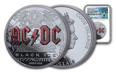 2018 Cook Islands $10 2-oz Silver AC/DC Black Ice High Relief Colorized NGC PF70UC First Releases