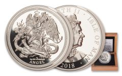 2018 Isle of Man 2-oz Silver Angel High Relief Piedfort Proof