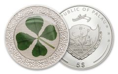 2019 Palau $5 1-oz Silver Four-Leafed Clover Enameled Proof