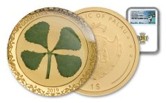 2019 Palau $1 1 Gram Gold Four-Leafed Clover Enameled NGC PF70UC First Releases - Pacific Rim Label