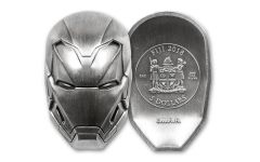 2018 Fiji $5 2-oz Silver Marvel Iron Man Mask High Relief Antiqued BU