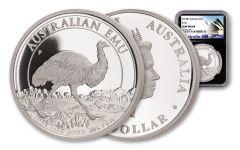 2018 Australia $1 One-Ounce Silver Emu NGC Gem Proof Black Core