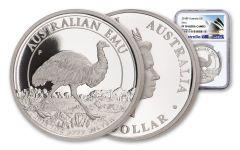 2018 Australia $1 One-Ounce Silver Emu NGC PF70UC