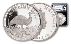 2018 Australia $1 One-Ounce Silver Emu NGC PF70UC Black Core