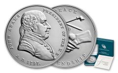 John Adams Presidential 1-oz Silver Medal BU