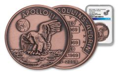 Apollo 11 Robbins Medal 1-oz Copper NGC Gem Unc First Day of Issue - 50th Anniversary Commemorative