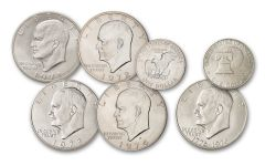 1971-1976-S Eisenhower Silver Dollar 5-Piece BU Collection Set