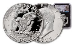 1972-S Eisenhower Dollar NGC PF69 Cameo Charlie Duke Signed Label, Black Core