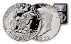 1972-S Eisenhower Dollar NGC PF69* Cameo Charlie Duke Signed Label, Black Core