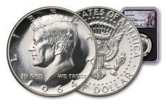 1964 Kennedy Silver Half Dollar NGC Gem Proof Charlie Duke Signed Label, Black Core