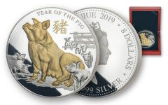 2019 Niue $8 5-oz Silver Lunar Pig Proof w/Gold Plating