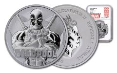 2018 Tuvalo $1 1-oz Silver Deadpool NGC MS69 First Releases - Marvel Label