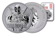 2018 Tuvalo $1 1-oz Silver Deadpool NGC MS70 First Releases - Marvel Label