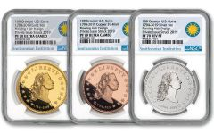1794-2019 America's First Silver Dollar 1-oz Gold/Silver/Copper 3-Piece Set NGC PF70UC - Smithsonian Label