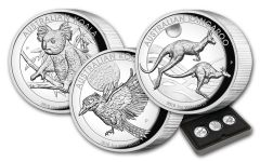 2018 Australia $1 1-oz Silver Koala, Kangaroo & Kookaburra High Relief Roof 3-Piece Set