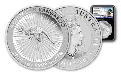 2019 Australia $1 1-oz Silver Kangaroo NGC MS69 First Releases, Black Core