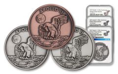 Apollo 11 Robbins Medals 3-Piece Commemorative Set NGC Gem Unc - 50th Anniversary