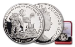2019 Ascension Island 1 Crown First Man on the Moon Silver Proof