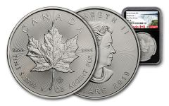 2019 Canada $5 1-oz Silver Maple Leaf NGC MS70 First Day of Issue - Black Core