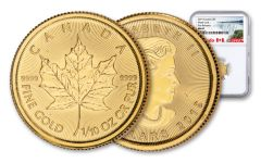2019 Canada $5 1/10-oz Gold Maple Leaf NGC MS69 First Releases - Exclusive Canada Label