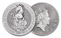 2019 Great Britain 10-oz Silver Queen's Beasts Unicorn of Scotland BU