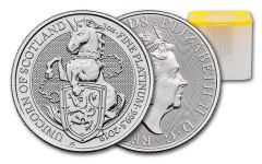 2019 Great Britain 1-oz Platinum Queen's Beasts Unicorn of Scotland BU 10-Piece Roll
