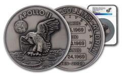 Apollo 11 Robbins Medal 5-oz Silver with Space Flown Alloy NGC MS70 First Day of Issue - 50th Anniversary Commemorative