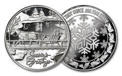 2018 Horse & Sleigh 1-oz Silver Christmas Round