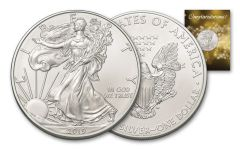 2019 $1 1-oz Silver American Eagle BU Congratulations Card
