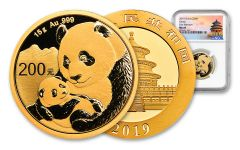2019 China 15 Gram Gold Panda NGC MS69 First Releases - Temple Label