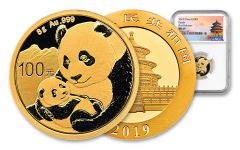2019 China 8 Gram Gold Panda NGC Gem Uncirculated First Releases - Temple Label