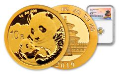 2019 China 1 Gram Gold Panda NGC MS70 First Releases - Temple Label