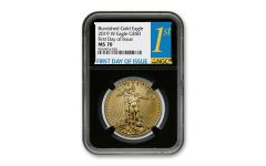 2019-W $50 1-oz Burnished Gold American Eagle NGC MS70 First Day of Issue w/Black Core