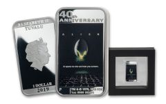 2019 Tuvalu $1 1-oz Silver Alien 40th Anniversary Movie Poster Proof
