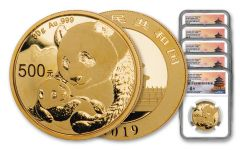 2019 China Gold Panda 5-Piece Prestige Set NGC MS70 First Day of Issue - Shenzhen Mint, Fang Signature Label