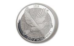 2018 Australia $2 2-oz Silver Piedfort Dove BU
