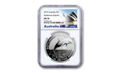 2019 Australia $1 1-oz Silver Bottlenose Dolphin NGC MS70 First Releases - Opera House Label