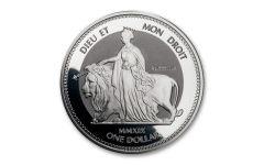 2019 British Virgin Islands $1 1-oz Silver Una & Lion Reverse Proof