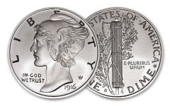 1916-D 2-oz Silver Mercury Dime Tribute