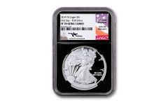 2019-W $1 Silver American Eagle NGC PF70UC Fun Show First Day of Issue - Black Core, Mercanti Signed Label
