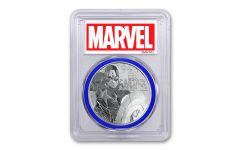 2019 Tuvalu $1 1-oz Silver Captain America PCGS MS69 First Strike - Blue Core, Marvel Label