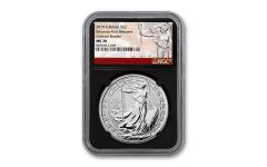 2019 Great Britain £2 1-oz Silver Oriental Britannia NGC MS70 First Releases - Black Core