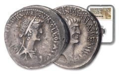 34/32 B.C. Cleopatra & Marc Antony Denarius NGC Ch VF Star