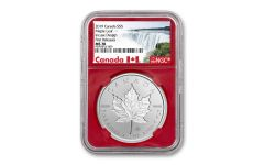 2019 Canada $5 1-oz Silver Incuse Maple Leaf NGC MS70 First Releases - Red Core, Canada Label