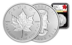 2019 Canada $5 1-oz Silver Maple Leaf Incuse NGC MS70 First Day of Production - Black Core, 40th Anniversary Gold Maple Leaf