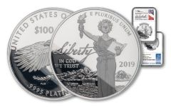 2019-W $100 1-oz Platinum American Eagle NGC PF70UC First Day of Issue - Mercanti & Everhart Dual-Signed Label